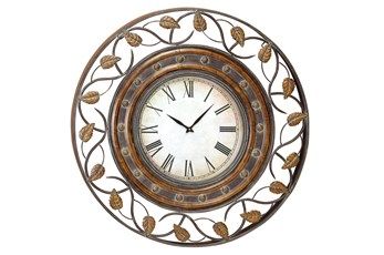 Brown 36 Inch Metal Wall Clock
