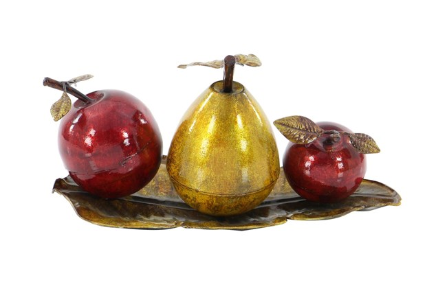 Red 9 Inch Metal Fruit Tray Stand Decor - 360