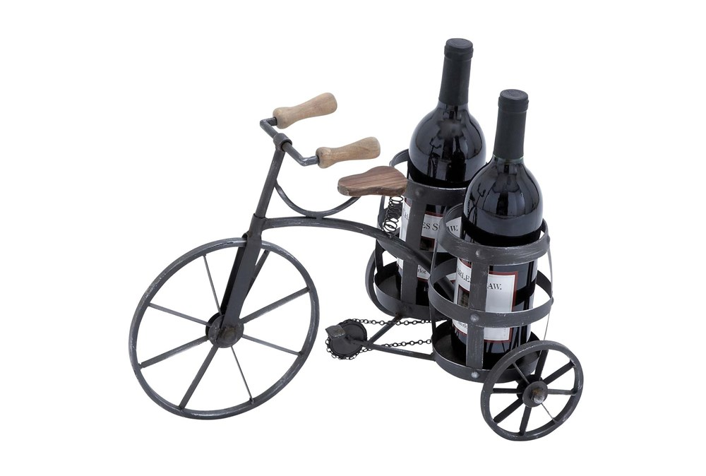Black 12 Inch Metal Tricycle Wine Holder