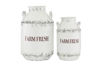 White 20 Inch Metal White Decorative Milk Can Set Of 2