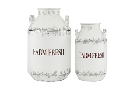 White 20 Inch Metal White Decorative Milk Can Set Of 2 - Main