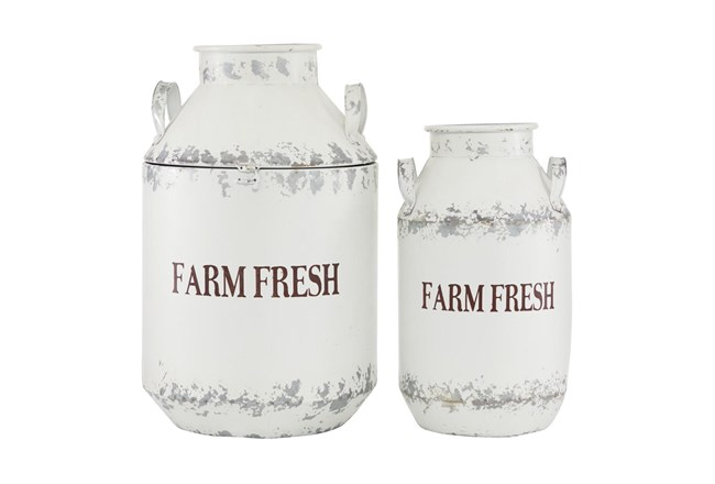 White 20 Inch Metal White Decorative Milk Can Set Of 2 - 360