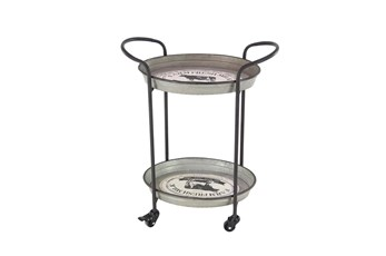 Grey 31 Inch Metal Tray Cart