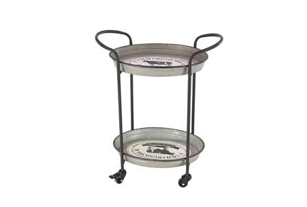 Grey 31 Inch Metal Tray Cart - Main