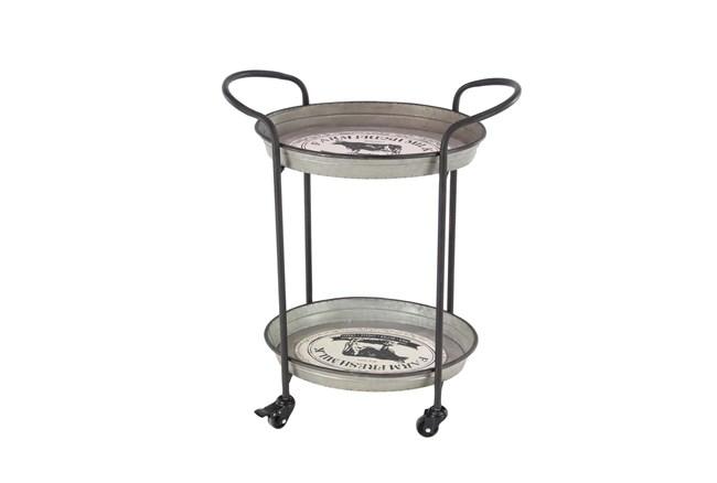 Grey 31 Inch Metal Tray Cart - 360