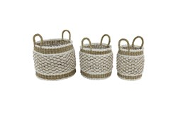 Brown 18 Inch Plastic Rope Basket Set Of 3
