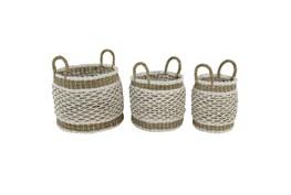 Brown 18 Inch Plastic Rope Basket Set Of 3