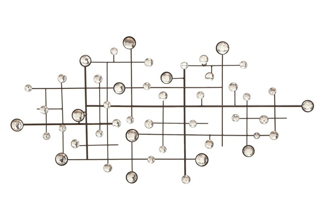 Silver 42 Inch Metal/Glass Bead Wall Decor - 360