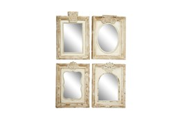 Brown 25 Inch Wood Wall Mirror Set Of 4