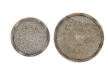 Set Of 2 Global Wooden Round Wall Plates