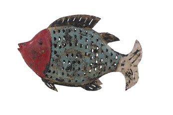 Blue 12 Inch Metal Fish Sculpture
