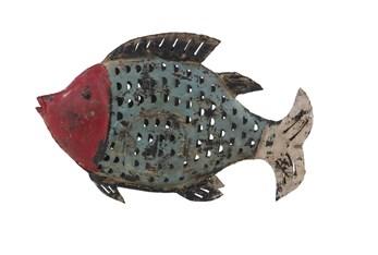 Blue 12 Inch Metal Fish Sculpture