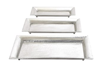 Silver 2 Inch Aluminum. Tray Set Of 3