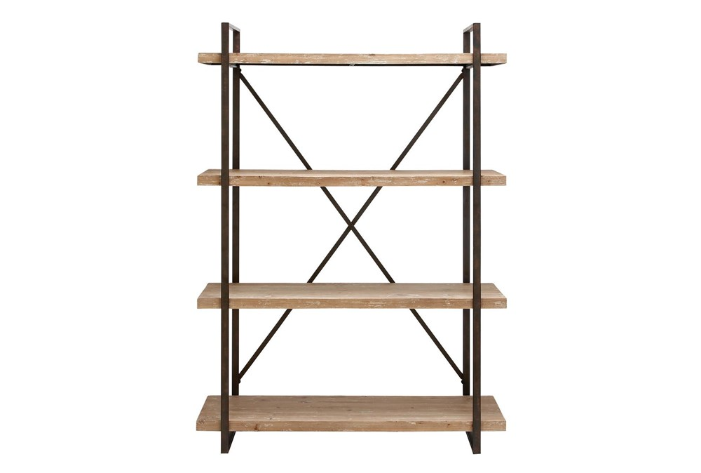 Brown 67 Inch Metal Wood Shelf