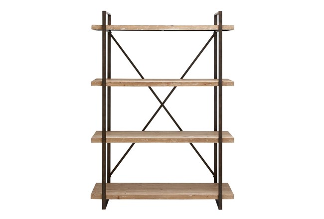 Brown 67 Inch Metal Wood Shelf - 360