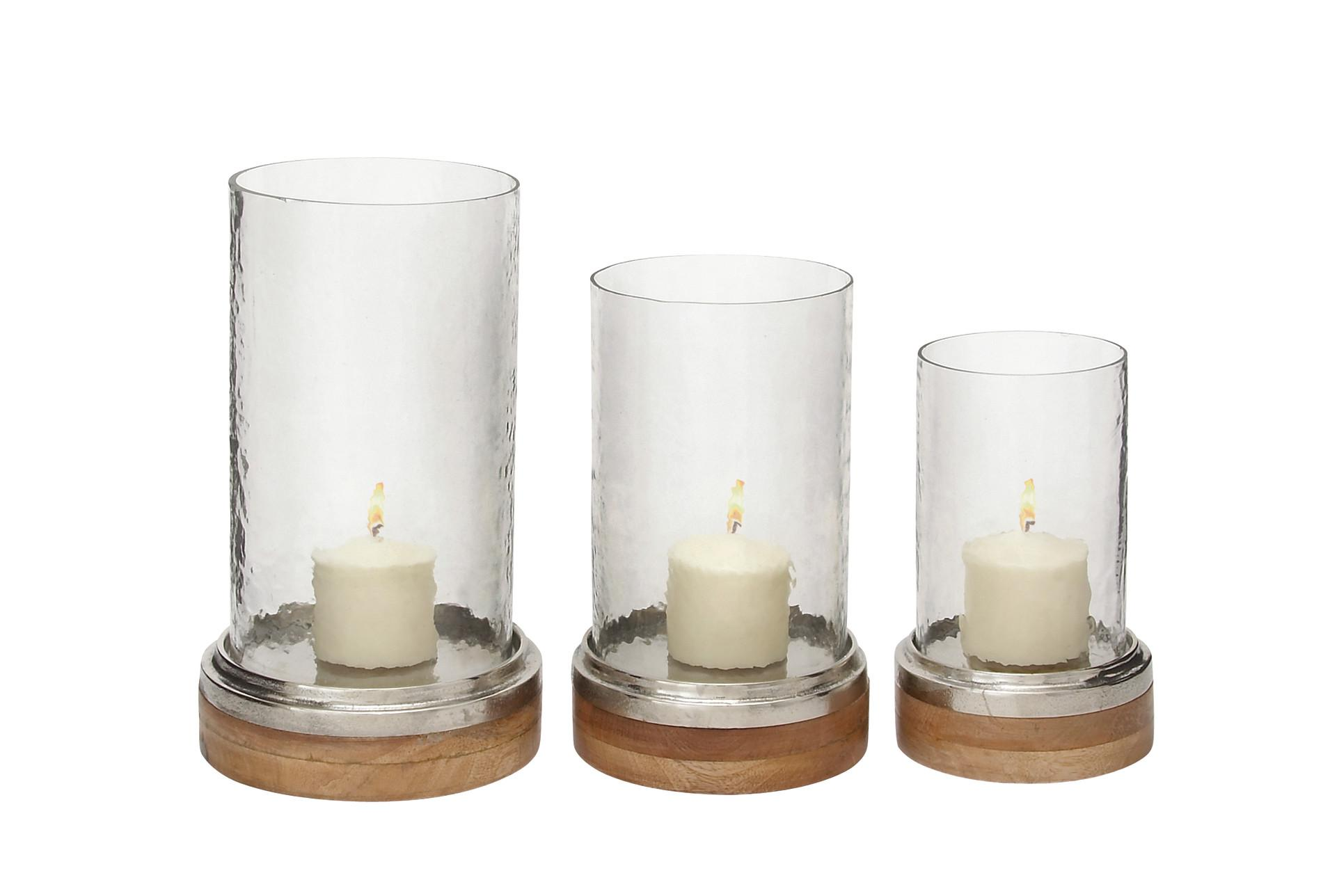 Clear 13 Inch Glass Metal Wood Hurricane Candle Holder Set Of 3 Living Spaces