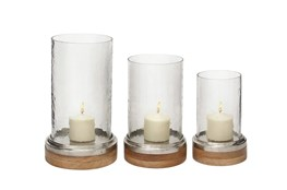 Clear 13 Inch Glass Metal Wood Hurricane Candle Holder Set Of 3
