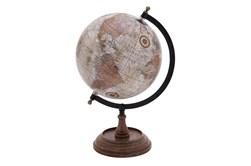 Brown 14 Inch Metal Wood Globe