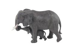 Dark Grey 13 Inch Polystone Mother Elephant