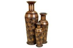 Brown 50 Inch Metal Vase Set Of 3