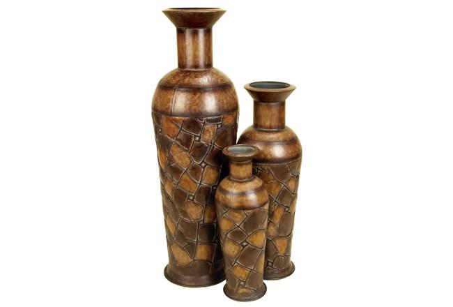 Brown 50 Inch Metal Vase Set Of 3 - 360