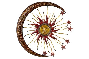 Gold 36 Inch Metal Sun Moon Wall Decor