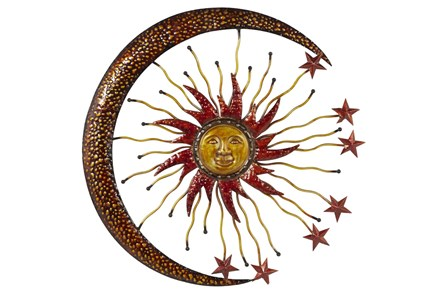 Gold 36 Inch Metal Sun Moon Wall Decor - Main