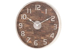 Brown 18 Inch Metal Wood Wall Clock