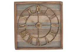 Brown 30 Inch Wood Metal Wall Clock
