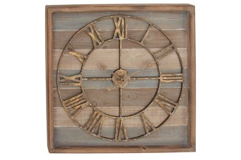 Brown 30 Inch Wood Metal Wall Clock