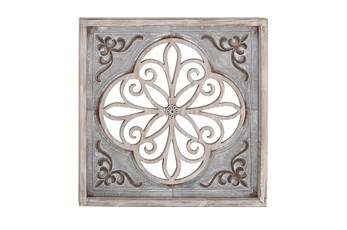 Grey 36 Inch Wood Metal Wall Panel