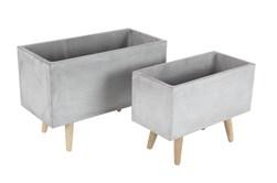Grey 15 Inch Fiber Clay Wood Planter Set Of 2