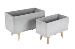 Grey 15 Inch Fiber Clay Wood Planter Set Of 2