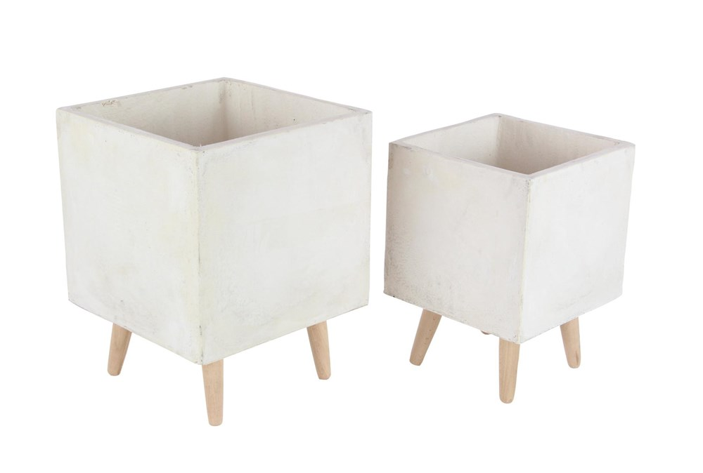 White 18 Inch Fiber Clay Wood Planter Set Of 2