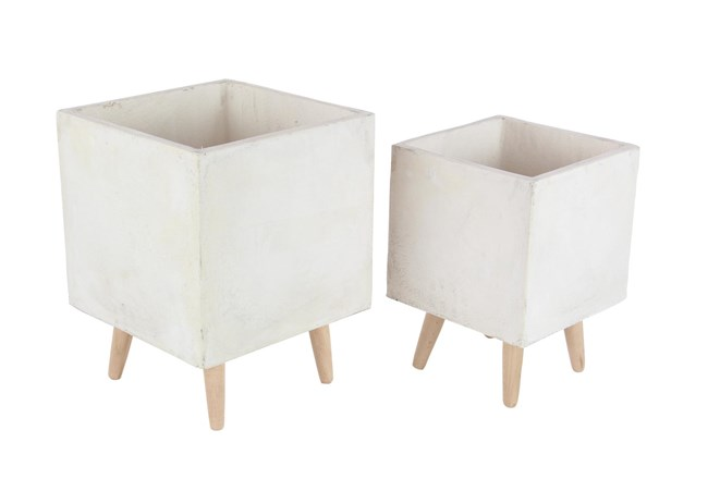 White 18 Inch Fiber Clay Wood Planter Set Of 2 - 360