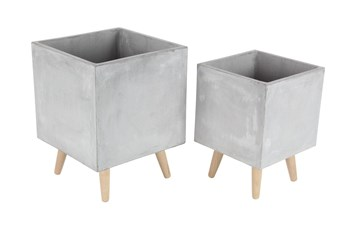 Grey 18 Inch Fiber Clay Wood Planter Set Of 2