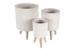 White 17 Inch Fiber Wood Planter Set Of 3