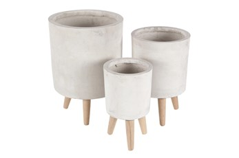White 17 Inch Fiber Wood Planter Set Of 3