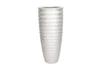 White 48 Inch Polystone Capiz Vase