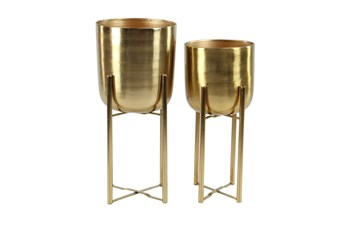 Gold 22 Inch Metal Floor Planter Set Of 2