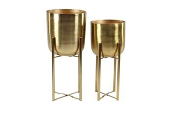 Gold 22 Inch Metal Floor Planter Set Of 2