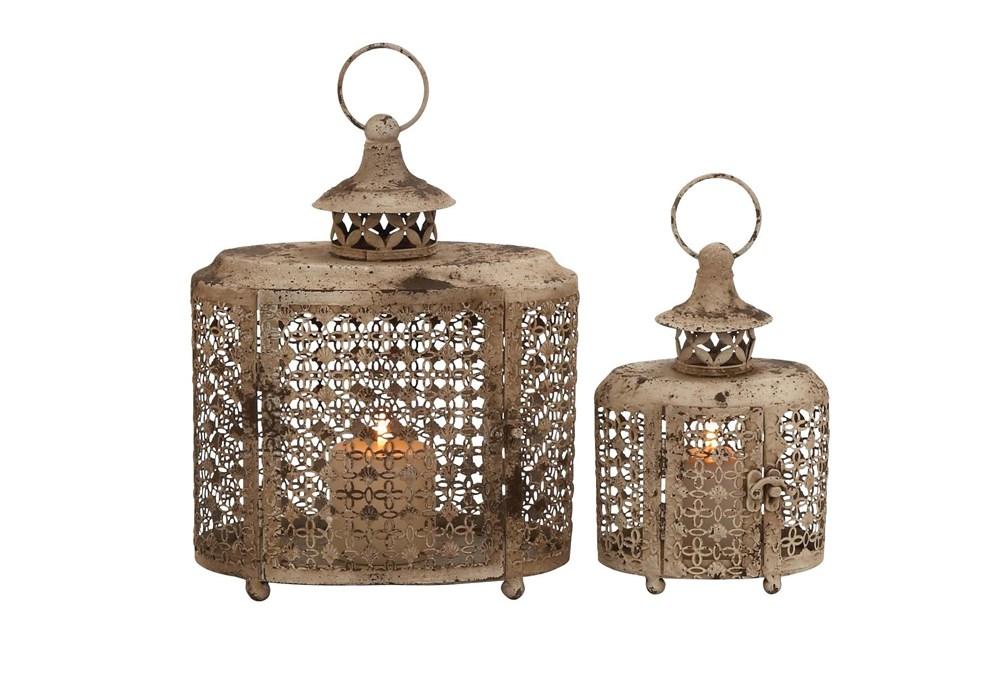 Beige 12 Inch Metal Candle Lantern Set Of 2