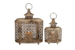 Beige 12 Inch Metal Candle Lantern Set Of 2