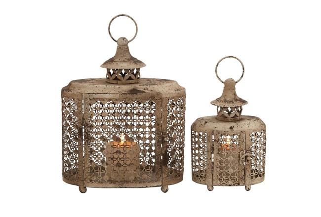 Beige 12 Inch Metal Candle Lantern Set Of 2 - 360