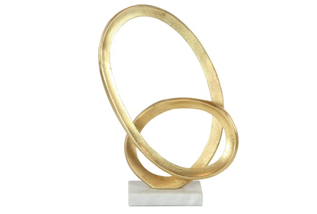 Gold 17 Inch Aluminum  Marble Abstract Loop Sculpture - 360