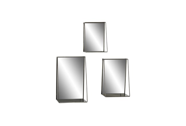 Gold 23.5 Inch Metal Wall Mirror Set Of 3 - 360