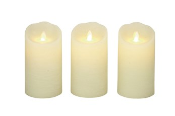 Beige 6 Inch Flameless Candle W Remote Set Of 3