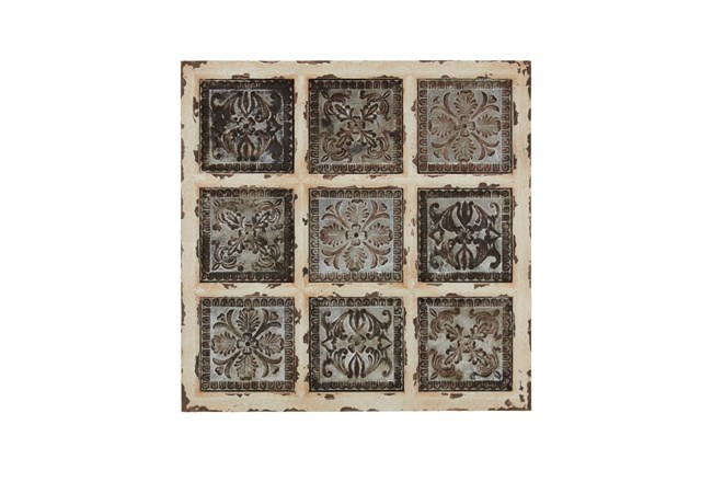 White 31 Inch Metal Wood Wall Plaque - 360