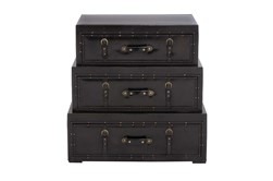 Black 32 Inch Wood Leather Trunk Chest