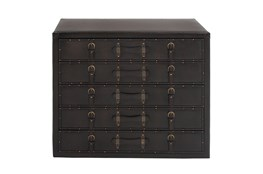 Black 32 Inch Wood Leather Chest